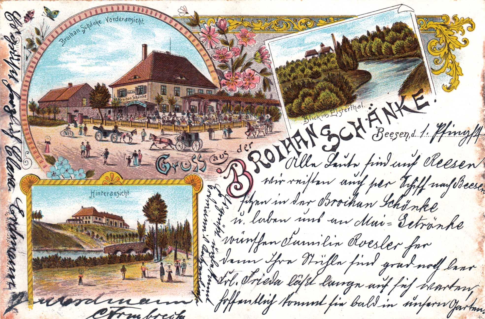 Ansichtskarte von 1899 von Clara Erdmann an Robert Roesler in Peitz