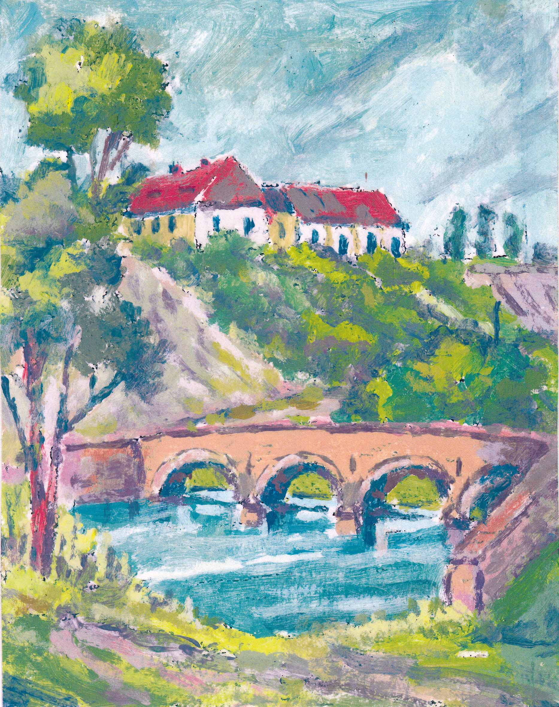 Aquarell von P. Bachmann, Ammendorf